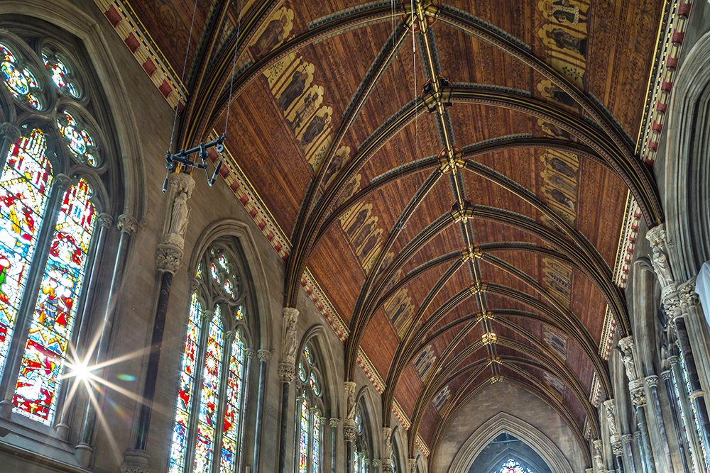 The painted ceiling of the Chapel roof