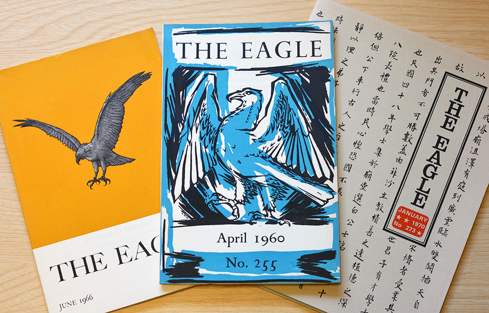 Three copies of the Eagle on a desk