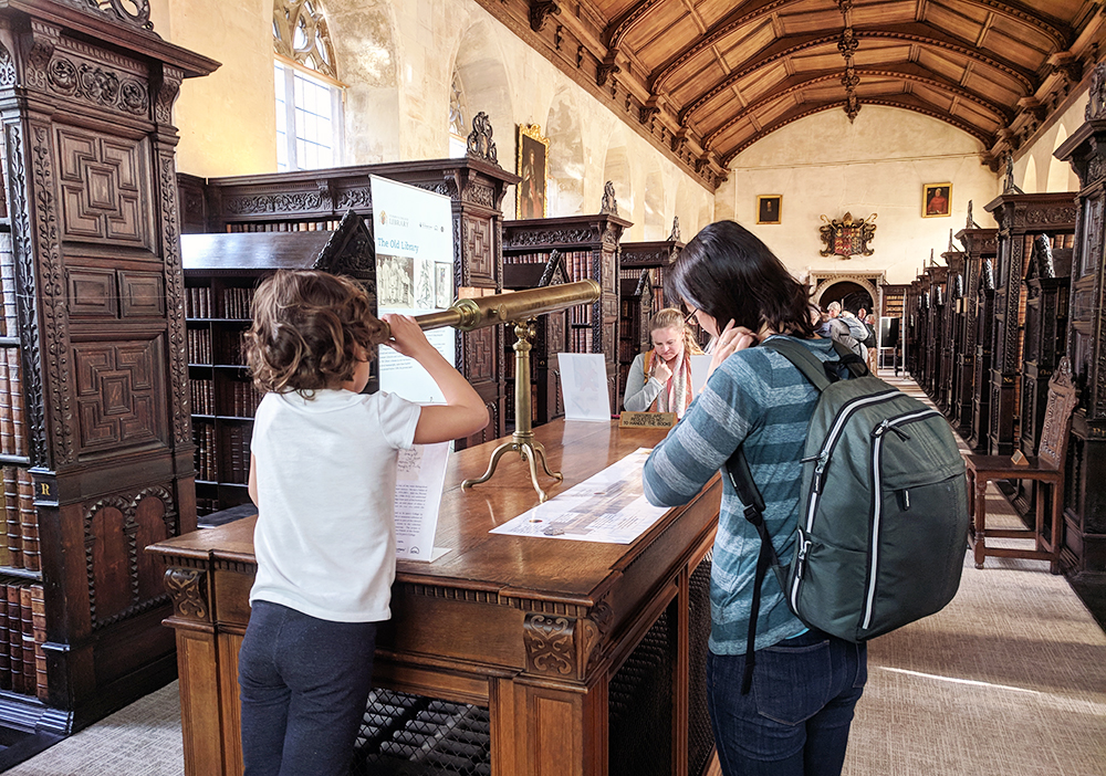 Visitors view an exhibition in the Old Library