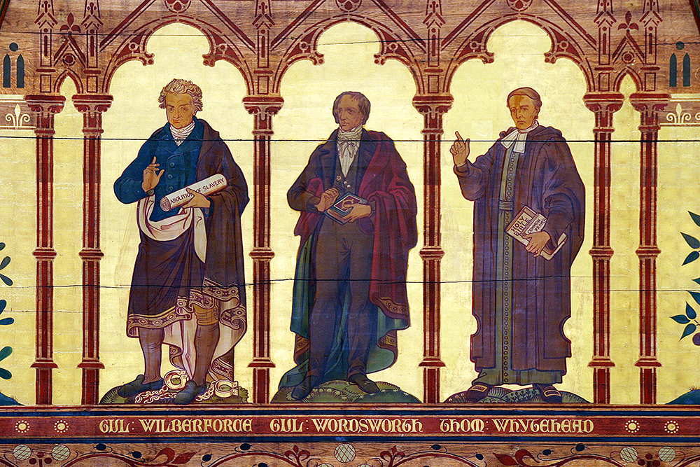 A painting of Wilberforce, Wordsworth, and Whytehead on the Chapel ceiling
