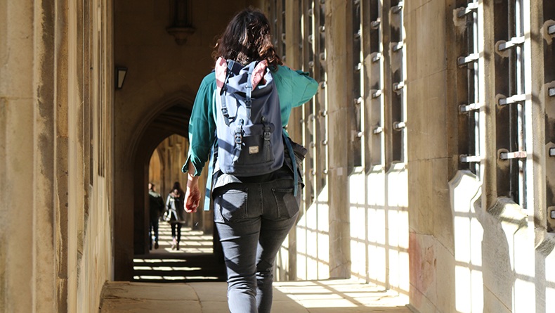 A student crosses the Bridge of Sighs