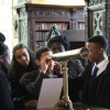 Saint Gabriel's students examine 20th century physicist Fred Hoyle's telescope
