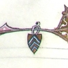 Detail showing a shield suspended from the lower border