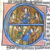 initial E incorporating Christ, musicians, Jacob's ladder and an angel