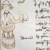 marginal sketch of a man standing in a basket (?)
