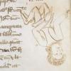 marginal sketch of an upside down man
