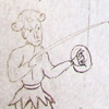 marginal sketch of a pointing figure