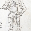 marginal drawing of Democritus in a suit of armour