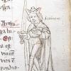 marginal drawing of King Arthur