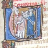 initial C showing a bishop receiving a book