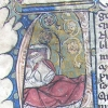 initial A incorporating a man in bed and a rose tree