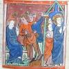 miniature showing the Jews plotting to stone Christ