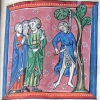 miniature showing Judas hanging and disembowelling himself