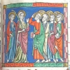 miniature showing John, the Virgin and the apostles