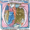 initial T showing St Michael and the dragon