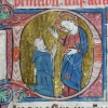 initial D showing a praying Benedictine before a standing Christ
