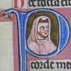 initial P incorporating the bust of a hooded monk