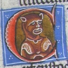 initial C incorporating the bust of a devil