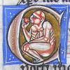 initial C incorporating a monkey eating an apple