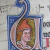 initial U incorporating the bust of a capped young man