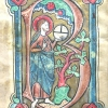initial B incorporating Christ with a globe