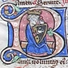 initial B incorporating King David with his harp