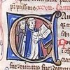 initial C incorporating two clerks singing