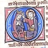initial O incorporating the coronation of the Virgin