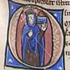 initial O incorporating a woman with a casket or tower