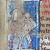 initial F incorporating a seated man writing