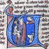 initial U incorporating Moses with a sword and a lamb