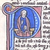 initial P incorporating St Paul with a book