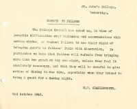 Restriction of guests (2 Oct 1946)