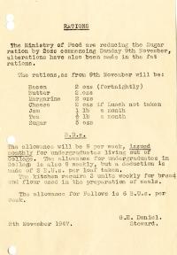Sugar ration reduced (9 Nov 1947)