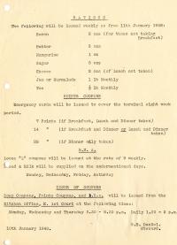 Weekly rations (10 Jan 1948)