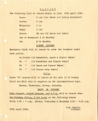 Weekly rations (16 April1948)
