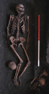 One of the over 400 medieval skeletons uncovered during the dig.