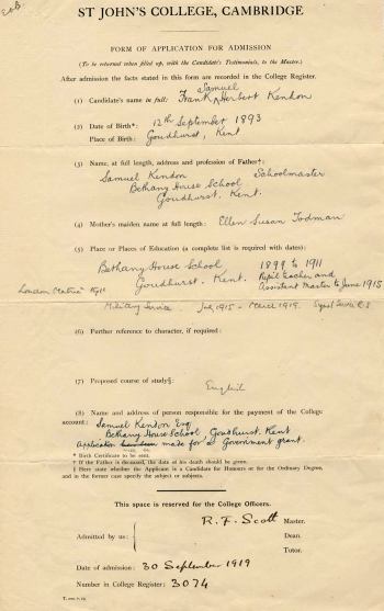 Kendon's application to St John's College
