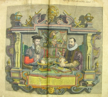 Gerardus Mercator (left) and Jodocus Hondius (right) in a scene of post-mortem collaboration