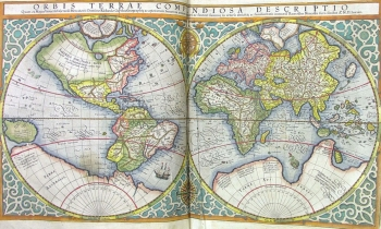 World map from Mercator's Atlas, printed and hand-coloured by Jodocus Hondius