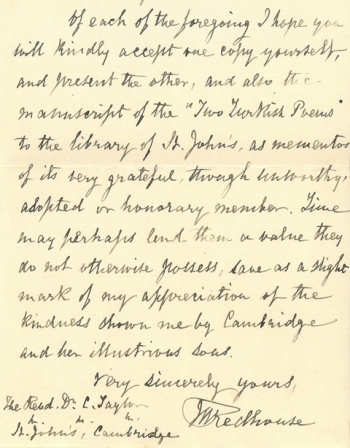 Redhouse's letter to Charles Taylor, Master of St John's, in 1884
