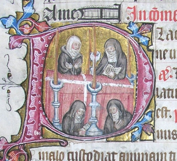 Nuns perform the Office of the Dead. Initial from folio 154v.