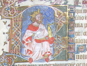 Historiated initial B at the start of Psalm I, with King David playing his harp.