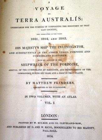 Title page of Matthew Flinders' 'A Voyage to Terra Australis'