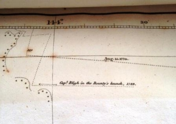 Detail of chart showing Bligh's route in the Bounty's launch