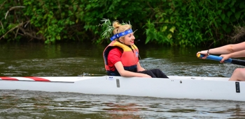 Abbi Brown coxing on the River Cam