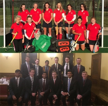 The women's and men's hockey teams, 2016.