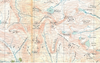 Small extract from Fred's OS map of Loch Maree and Achnasheen with munros marked