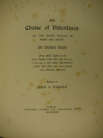 Title page of The Choise of Valentines.