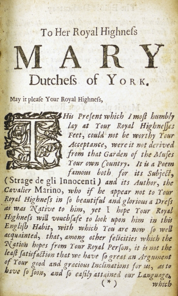 First page of T.R.'s dedication to Mary, Duchess of York.